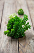 fresh green  parsley on old rustick background