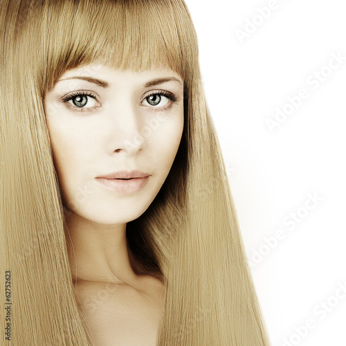Beautiful blonde woman with long hair and makeup, fashion portra