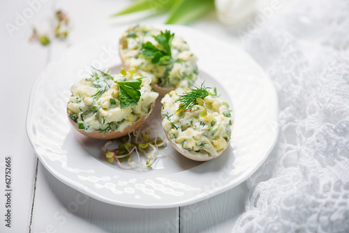 stuffed eggs with fresh herbs and mayonnaise