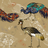 seamless pattern with peacock and Crowned Crane - 62752881