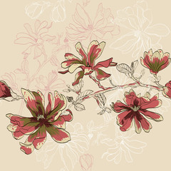 floral seamless pattern with blooming flowers
