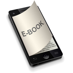 3D smartphone e-book concept with curled page
