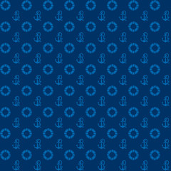 Seamless patterns, blue anchors and lifebuoy