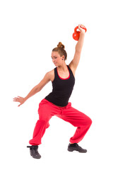 Female Fitness Instructor Exercise with Kettlebell