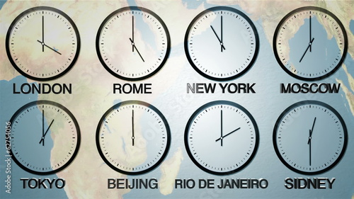 24h World time zone. Time in 8 capitals. Loopable