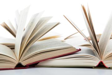 open books on white