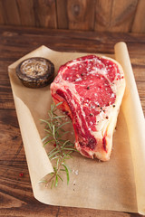 raw beef Rib bone  steak