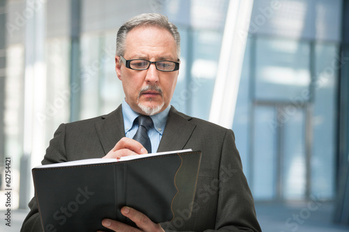 Businessman taking notes on his agenda