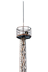 Old rusty industrial searchlight tower lighting isolated mast