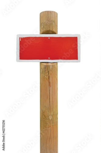 Red hand-painted warning sign horizontal metal isolated