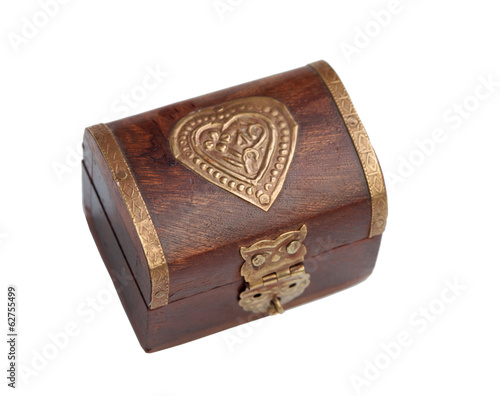 Wooden trunk with gold