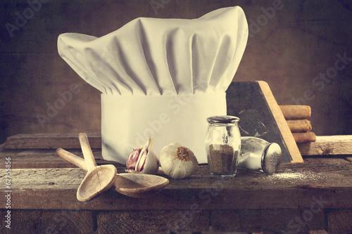 Papiers peints Table preparee cook hat