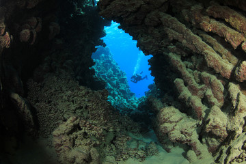 Underwater Cave and Scuba Diver