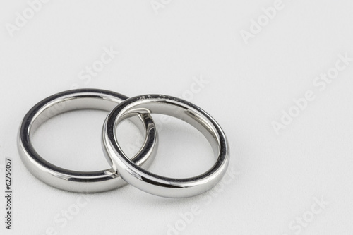 Silver Titanium Wedding Bands on White