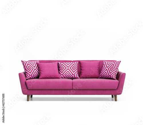 Isolated contemporary pink sofa