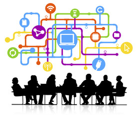 Vector of Business Meeting with Connection Themed Background