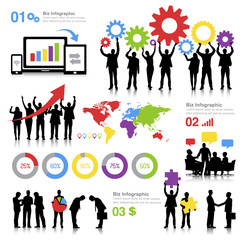 Global Business Themed with Infographics Vector