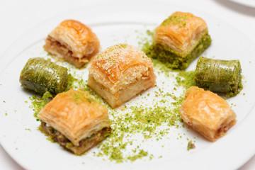 Turkish baklava on plate