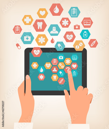 Two hands touching screen of a tablet with medical icons. Vector