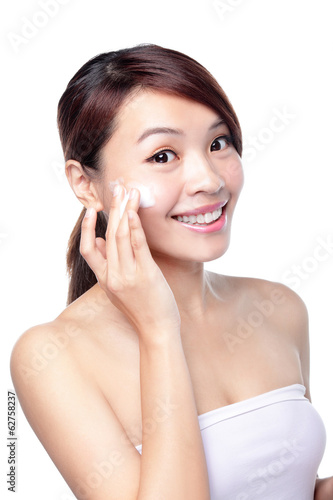 beautiful young girl with clean skin on pretty face