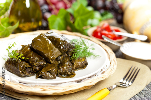 Stuffed Grape Leaves. Dolma. Azerbaijan, Turkish Cuisine