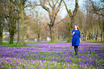 Woman on the crocus field on a spring day