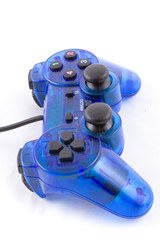 isolated of the blue joystick for controller and play video game