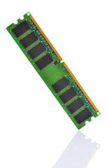 Stick of computer random access memory (RAM) isolate on white ba