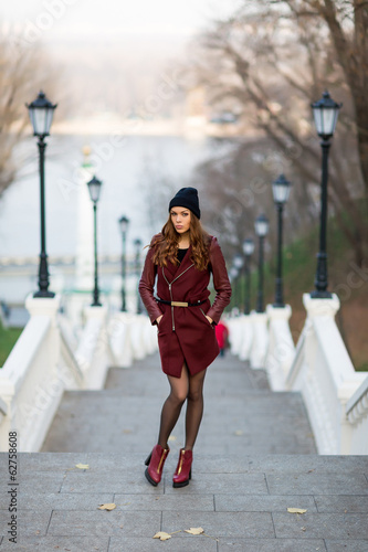 attractive woman at stairs