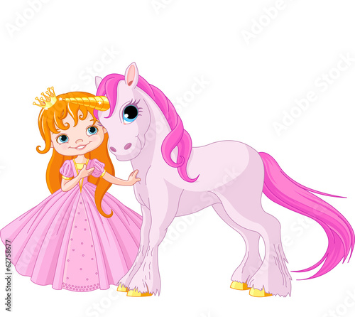 Cute Princess and Unicorn