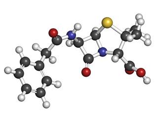 Penicillin G (benzylpenicillin) antibiotic drug molecule.