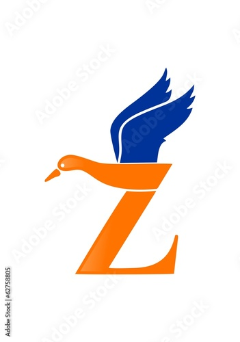 Letter Z with duck  logo