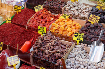 Dried fruits and spices on Turkish market