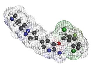 Crizotinib anti-cancer drug molecule. Inhibitor of ALK and ROS1