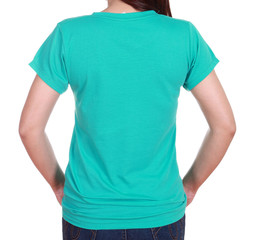 close-up female with blank t-shirt (back side)