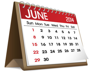 Calendar of June 2014 Vector