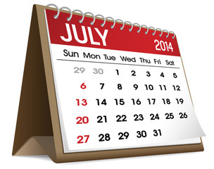 Calendar of July 2014 Vector