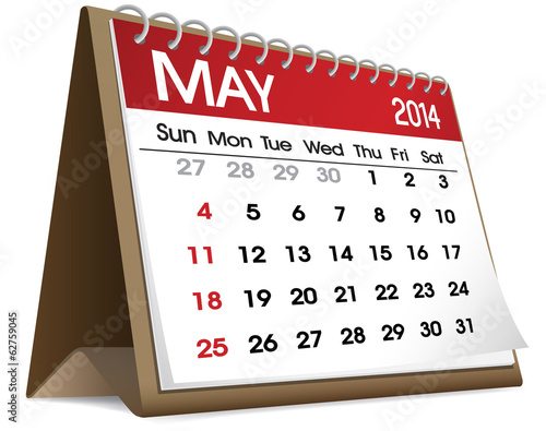 Calendar of May 2014 Vector