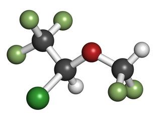 Isoflurane anesthetic drug molecule.