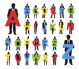 Vector of Business People Holding Alphabet