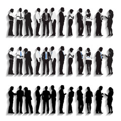 Silhouettes of Business People Standing Vector