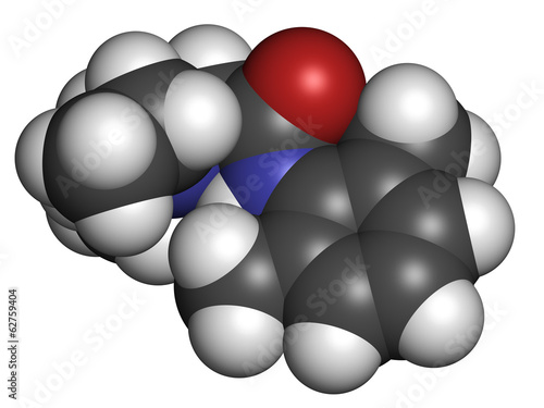 lidocaine local anesthetic drug molecule. Also known as xylocain