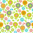 seamless pattern of flowers, butterflies, leaves