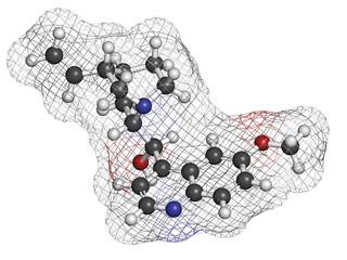 Quinine malaria drug molecule. Isolated from cinchona tree bark.