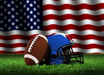 American Football with Helmet and Flag