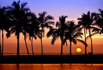 Hawaiian sunset on Big Island, Anaehoomalu Bay