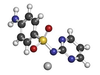 Silver sulfadiazine topical antibacterial drug molecule.