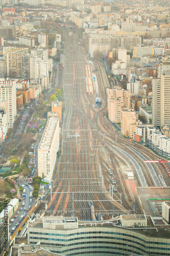 Aerial view of the railways near Monparnasse in Paris