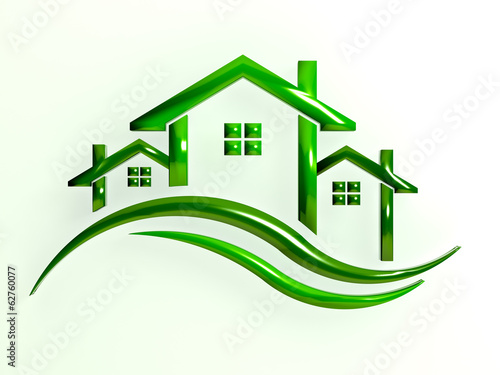 Green Logo Houses with waves
