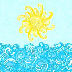 Summer background, sea, sun, waves